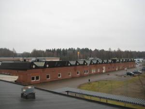Ansicht des Gebäudeteils mit Scheddächern